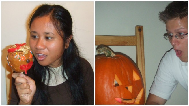 Making caramel apples and carving pumpkins at home in Michal's apartment in Schaumburg, IL (2008)