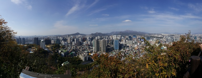 Pano of Seoul: View from a Lookout Point while walking Namsan Park