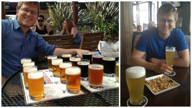 Left: Michal at Lagunitas Brewing Co. in California. Right: Michal at a brewery in Phuket, Thailand.