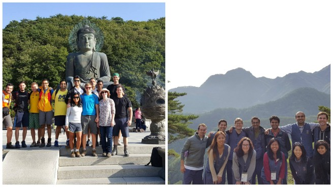 Weekend trips in Korea: (let) Sokcho before a hike and (right) after a hike at Guinsa Temple