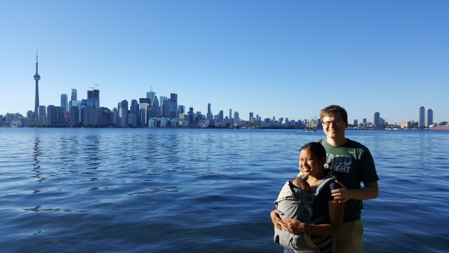 Strolling around Toronto Island, Sophia is asleep in the Ergo carrier.